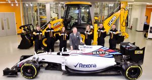 JCB Chairman Lord Bamford pictured with JCB apprentices (l-r) Kyle Hare , Charlie Trotter, Jade Holmes, Chelsea Saunders, James Mohan and Daniel Malbon at the announcement of the new partnership agreement between JCB and Williams Martini Racing Date. 22.02.17