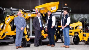 Pictured left to right are Mark Robinson of JCB dealer Gunn JCB, Dan Thomptone, JCB UK & Ireland Sales Director with two Directors of Brit Plant Hire - Bradley Edwards and Glyn Douglas.